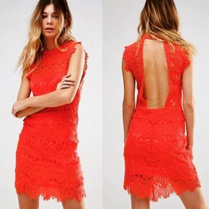 FREE PEOPLE | Daydream Lace Bodycon Dress, Red